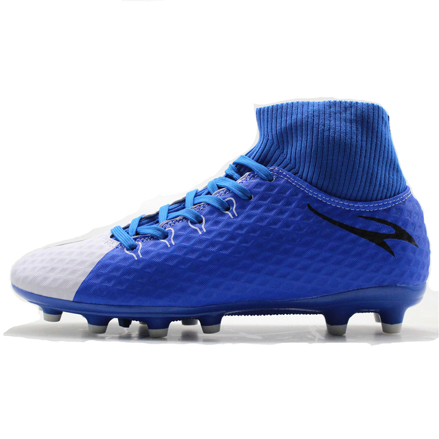 MAULTBY Men's Blue White High Ankle AG Sole Outdoor Cleats Football Boots Shoes Soccer Cleats #SS3018N