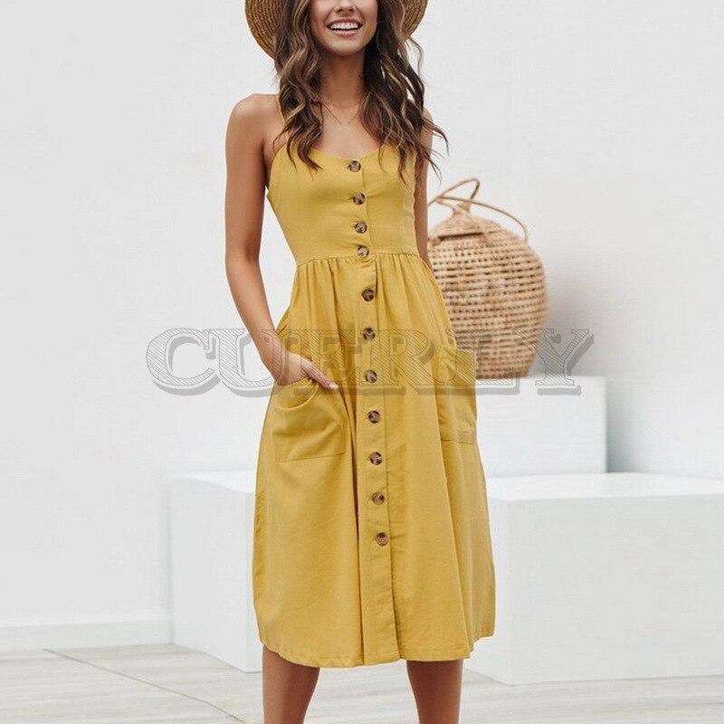 CUERLY Women Summer Dress 2019 Sexy Straps Bohemian Floral Beach Girls Fashion Print Pocket Sundress