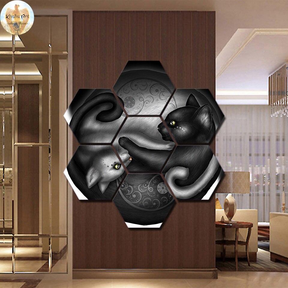 Yinyang par Khalia Art mur photo décor à la maison toile peinture mur art imprimer 7 panneaux toile peinture décor à la maison photos imprimer