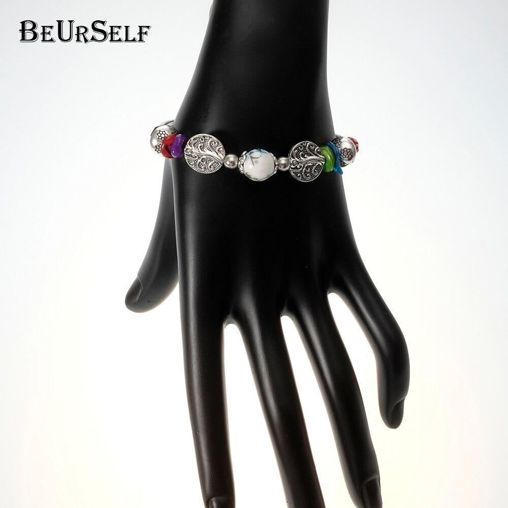 BeUrSelf punk vintage silver queen bracelet classic women handwork jewelry charms bangles fashion glass crystal beads bracelets