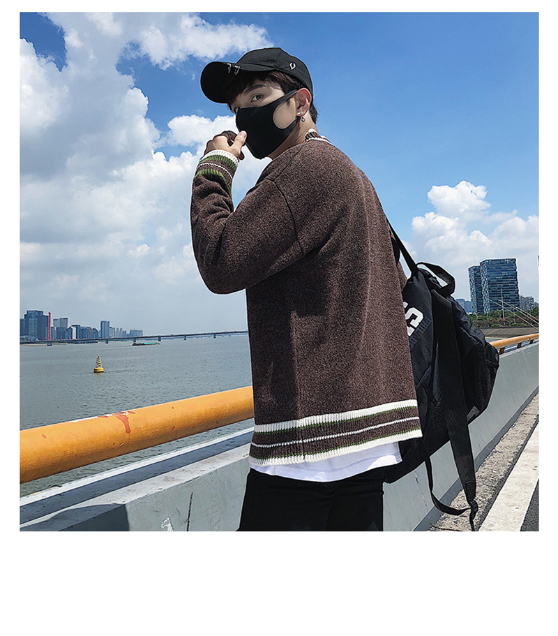 Check Button Cardigan Male Oversize Loose Streetwear (28)