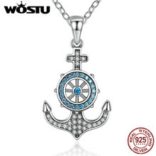 2017 New Arrival Real 925 Sterling Silver Anchor Pendant Necklaces With CLear CZ For Women Luxury Jewelry Gift DXN061(China)