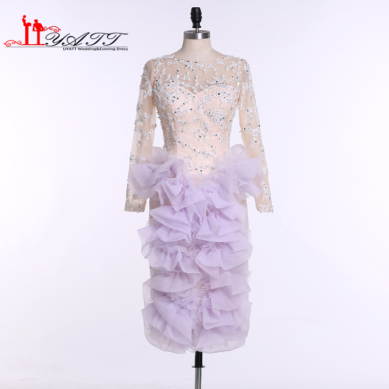 LIYATT Real Picture 2016 Champagne Lilac Purple Sheer Lace Pearls Beads Tea Length Long Sleeves Arabic Dubai Prom Evening Dress image