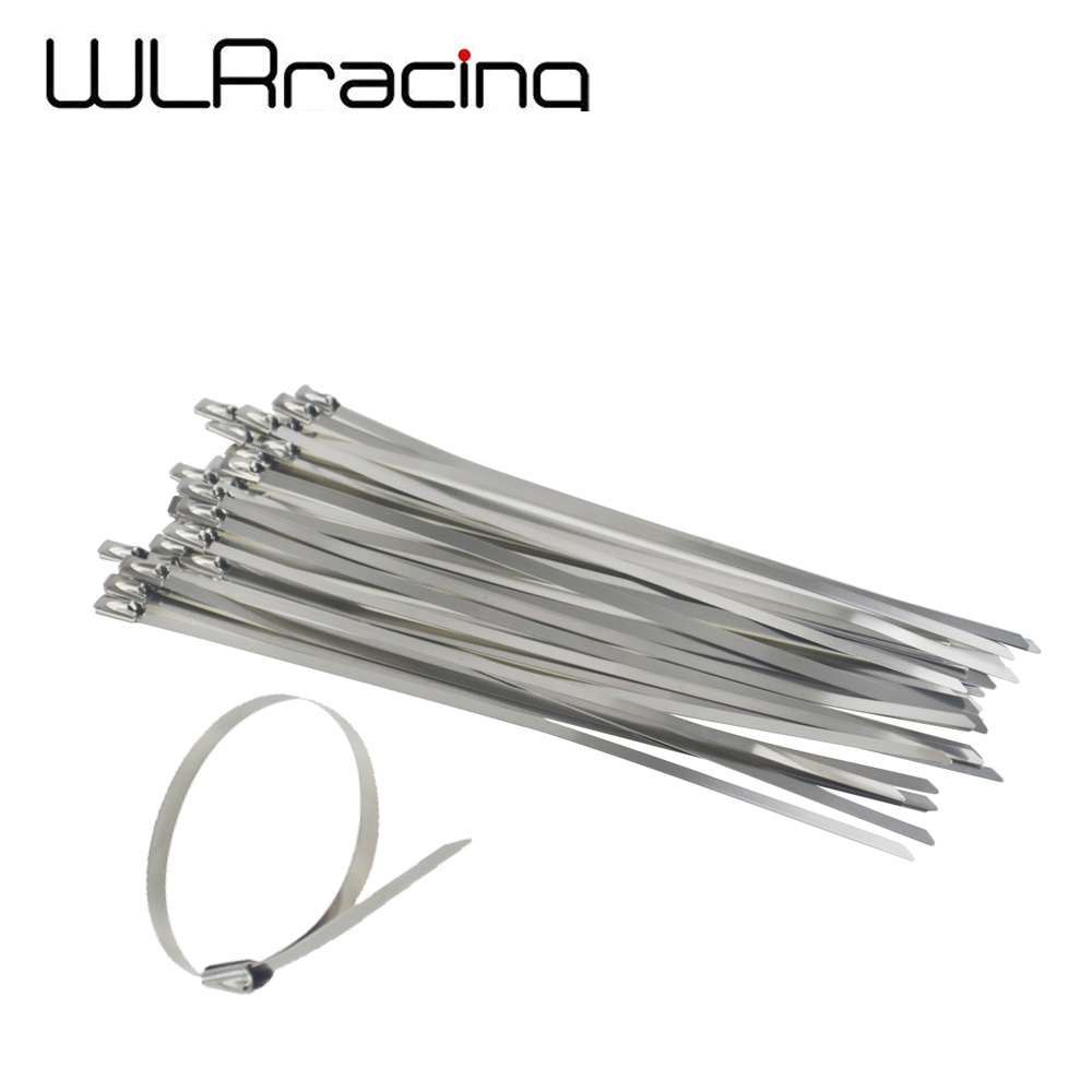 10pcs 30cm Stainless Steel Exhaust Wrap Header Self Locking Cable Zip Ties