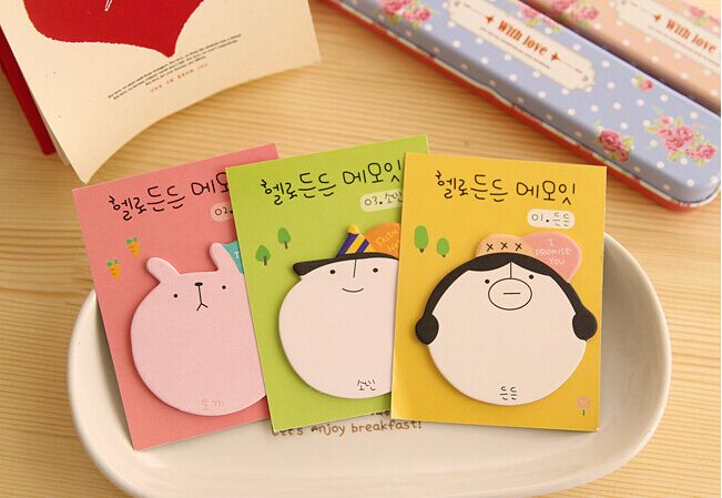 Kawaii Big head Sticky Notes Planner Memo Pad Stickers Scrapbooking Post It Markers Notes stickty bookmark Office Supplies
