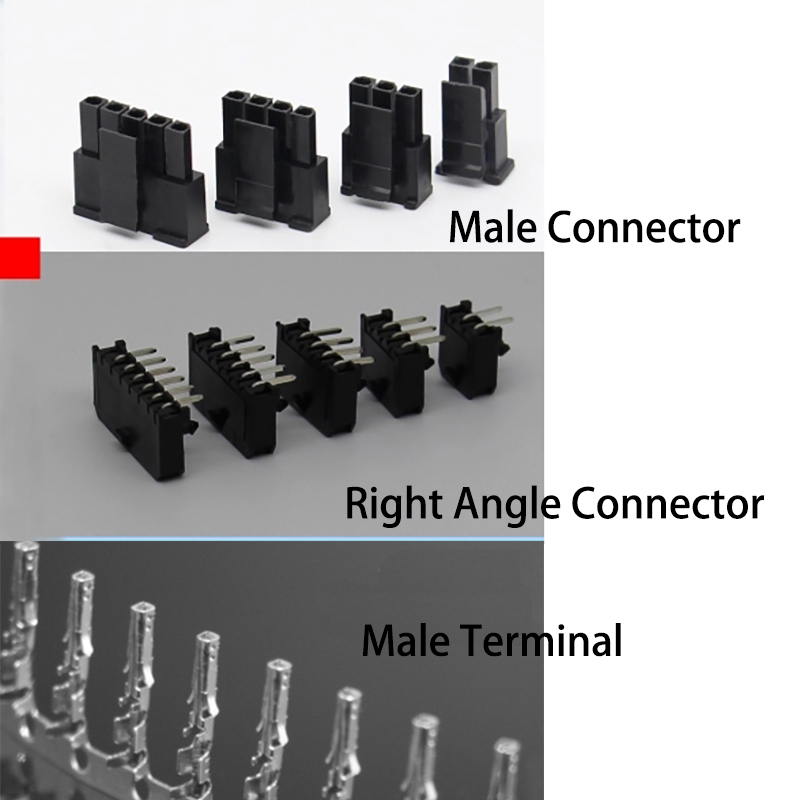 30 Set Molex 3.0 Mm Connector 43645/43640 Single Row Male Connector Female Right Angle Connector+ Terminals 2/3/4/5/6 Pin