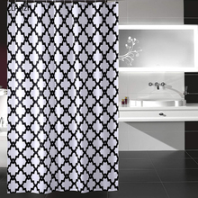 CLPAIZI White Geometric Patterned Shower Curtain Polyester Waterproof and Mildewproof Lattice 72 x 80 D30
