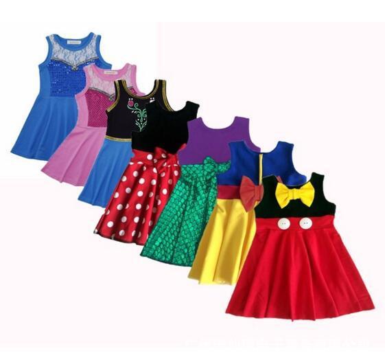 Популярные Летнее платье принцессы платье с рисунком костюм для девочек платья Белоснежки Belle Русалка Вечерние Cosply платье чудо Для женщин