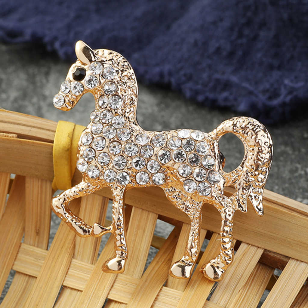 Stylish Silver Gold Tone Fashion Crystal Horse Animals Pins Brooch Women Party Jewelry