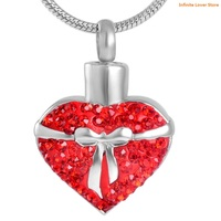 KLH8675 Bow Knot On Red Heart Stainless Steel Cremation Jewelry for Women,Cheap Price Wholesale Pet/Human Ashes Keepsake Jewelry