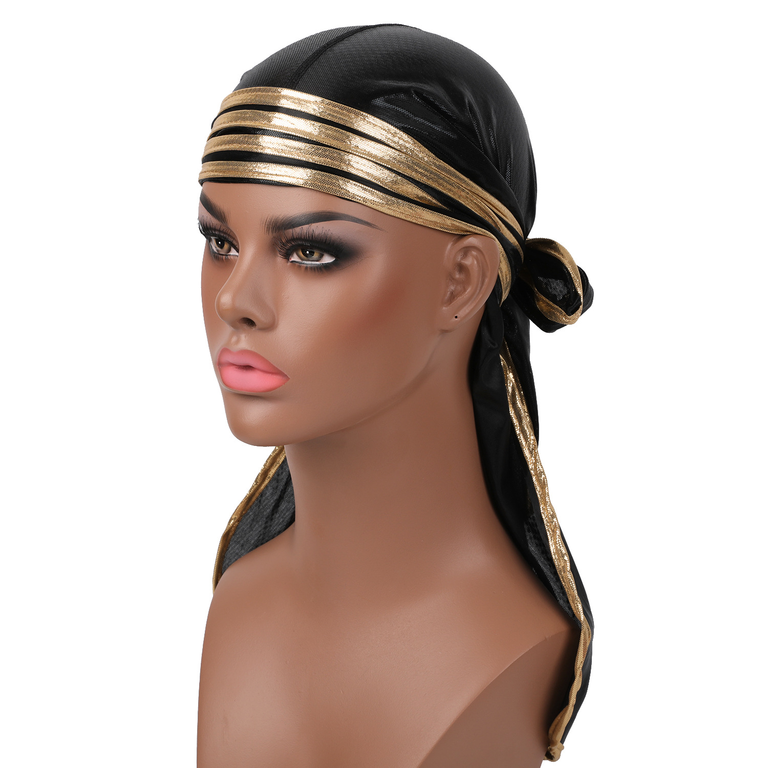2019 <font><b>Men</b></font> Women Sparkly Satin <font><b>Silk</b></font> <font><b>Durags</b></font> Bandanas Turban Hat Wigs Doo Stripe Long Tail Du-Rag Biker Pirate Hat Headband image