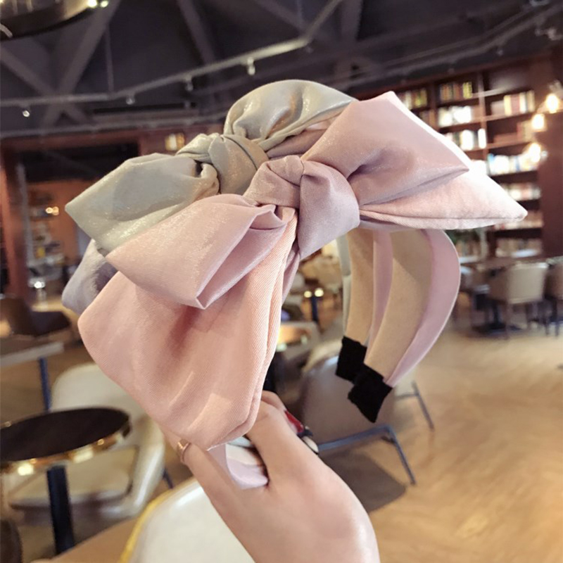 Women boutique hair accessories colorful cloth large double bows wide-brimmed headbands hair hoop korea high-end hairband tiara
