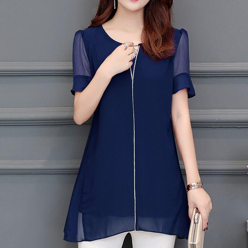 Women Clothing New 2019 Summer Fashion Plus Size Women's Shirts Short Sleeve Lace Blouse Shirts transparent Chiffon Blusas 892H3