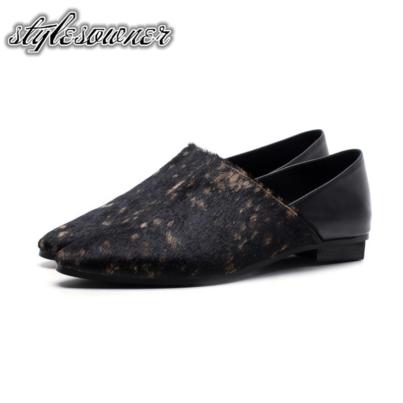 Stylesowner Fashion Flat Woman Casual Shoes Spring Autumn Black Solid Color Pointed Toe Horsehair New Style Slip-on Woman Shoes beyarne women shoes fashion pointed toe slip on flat shoes woman comfortable single casual flats spring autumn size 35 41 zapato
