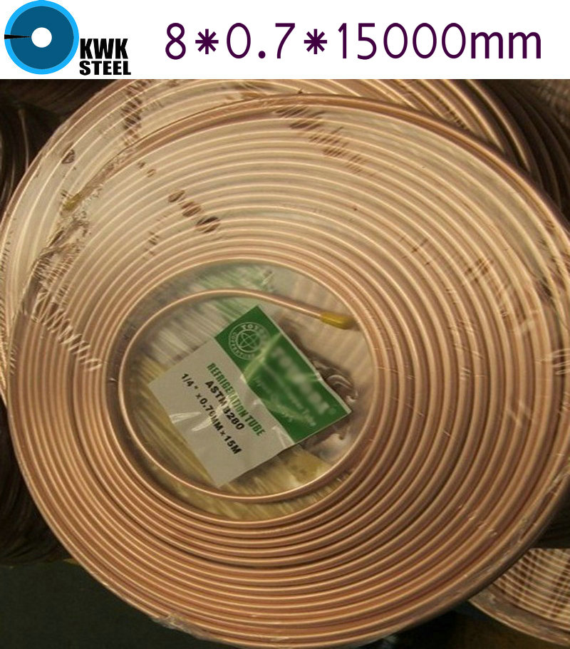Copper Coiled Pipe Size 8.0*0.7mm 15Meter Length Soft Condition Air Condition Ferigerator Tube Refrigerant Liquid Pipe R410A  цены