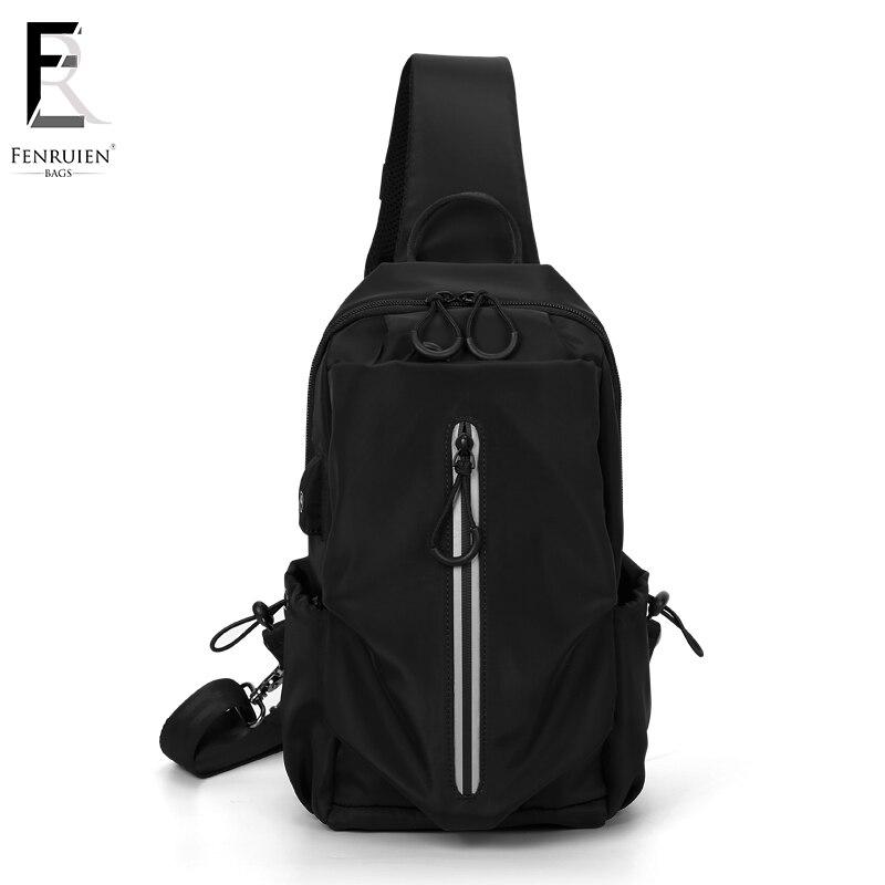 FRN Multifunction Crossbody Bags Men USB Charging Chest Pack Short Trip Messengers Chest Bag Water Repellent