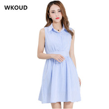 WKOUD 2018 Summer Dress For Women Blue Striped Shirt Dresses Sleeveless A-line Mini Dress Elastic Waist With Belt Vestidos K8025