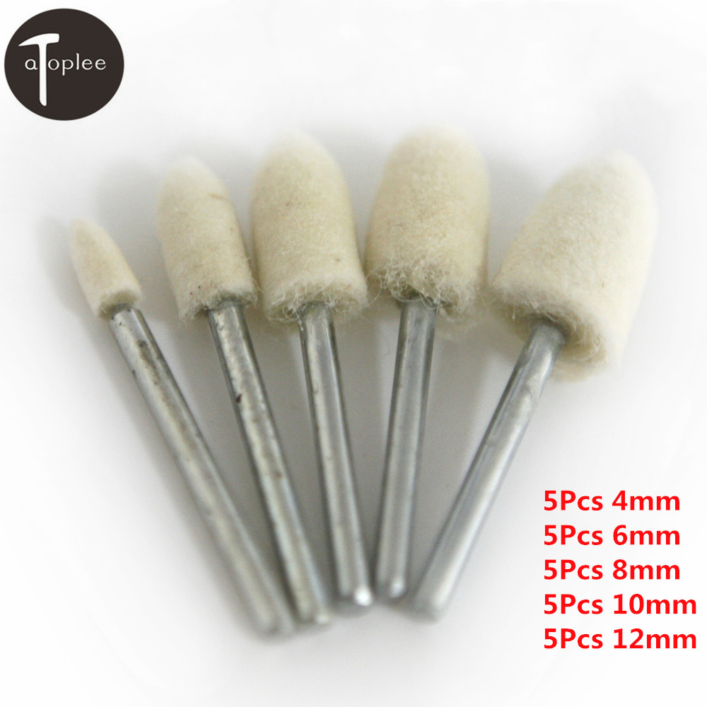Metal 50Pcs Glass Gold and Silver Jewelry 3mm Wool Felt Cone Buffing Grinding Head Sets Polishing Rotary Tools With 3mm Shank for Polishing Mold