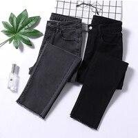 Уличная Высокая талия женские узкие джинсы Серые Черные рваные, Стретч Джинсы для мам плюс размер женские джинсы