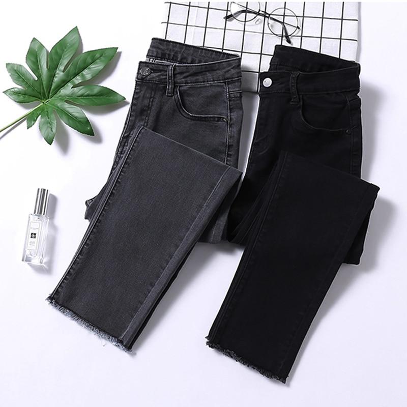 Streetwear High Waist Skinny Jeans Woman Gray Black Stretch Ripped Mom Jeans Plus Size Ladies Jeans Pants Women Jeans Femme