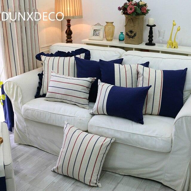 DUNXDECO Kissen Dekorative Kissen Fall Französisch Romantischen Streifen  Blau Flouncing Leinen Baumwolle Sofa Dekoration Coussin