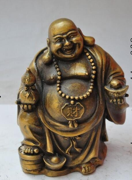 "S5416 7""Chinese Buddhism bronze Happy Laugh Maitreya Buddha Yuanbao money Gourd Statue|statue of liberty bronze|statue 3d model free|statue of liberty fabric - title="
