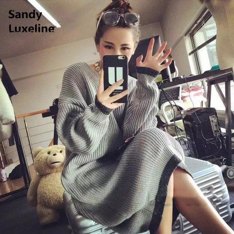 2016 New Sexy font b Women b font Sweater Long Autumn Dress Pattern Knitted Tops Casual