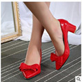 Ladies catchpenny sexy elegant bow /plain big size(4 to 11) soft patent leather pointed toe square heels thin shoes summer style
