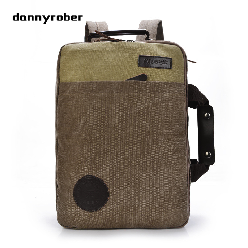 DANNYROBER New Travel Backpack Canvas Leisure Fashion Vintage Shoulder Bag Laptop Backpack For Student Men&Women Daypack 15 inch green hill mma 0057 xl
