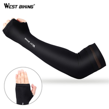 WEST BIKING Breathable Cycling Arm Sleeve With Finger Fitness Cycling Ice Fabric Arm Finger Sleeve UV Protection Bike Arm Sleeve