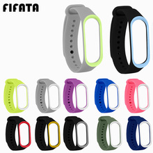 FIFATA For Xiaomi Mi Band 3 Double Color Soft Silicone Strap Replacemnet Wrist B