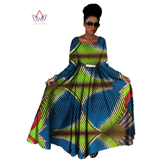 38945c55e4 US $52.18 |Traditional African Clothing Long Sleeve Maxi Dress African  Bazin Riche Dashiki African Print Plus Size Women Clothes BRW WY141-in  Dresses ...