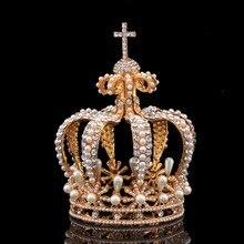 มงกุฎขนาดใหญ่ที่มีมุก Tiaras และ Crowns เจ้าสาวคราวน์วง VINTAGE Baroque Royal HairBand อุปกรณ์เสริม