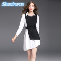 Fashion Women Dresses Mini Autumn Dress Black And White Color Long Sleeve Self Belted Irregular OL