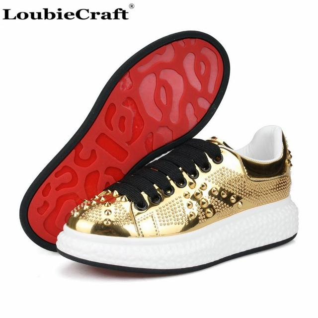 3a56b6620a2 LoubieCraft Spikes Sneakers Platform Flats Low top Men s Creepers Shoes Red  Bottoms Trainers Casual Shoes Gold Patent leather