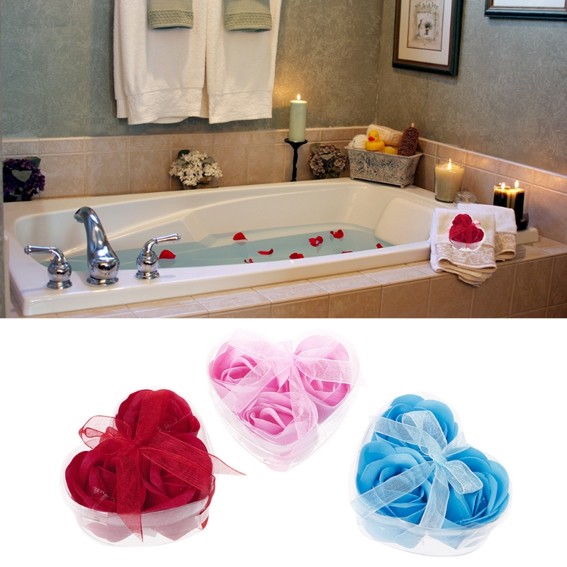 3Pcs/Set Rose Petal Flower Scented Bath Soap + Heart Shape Box For Wedding Gift