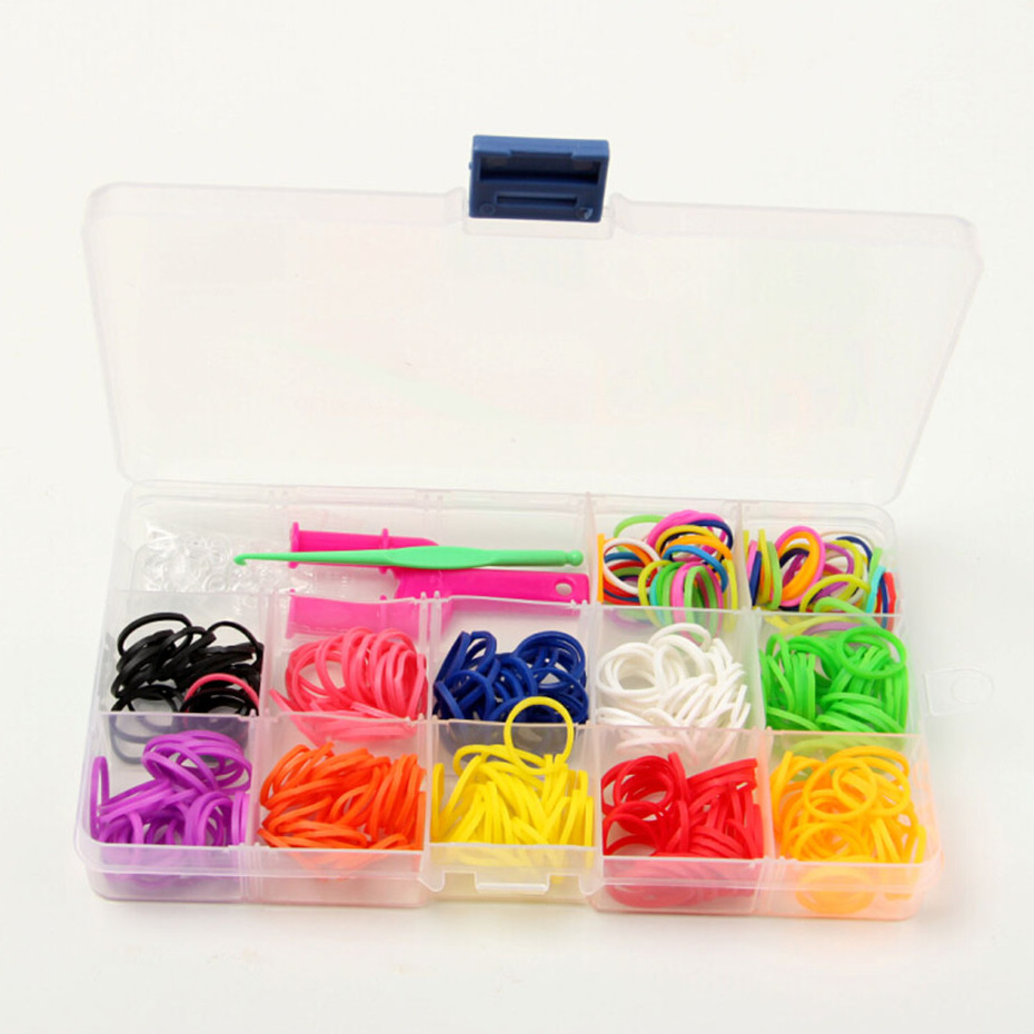 plastic boxes rubber bands and with hook rainbow Ponytail Hair Band DIY toys 360 bands+1