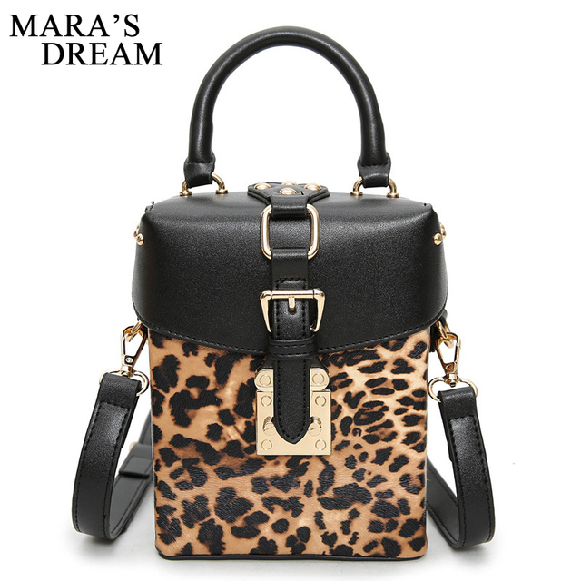 Mara S Dream 2018 New Children Leopard Printing Bags Solid Small Box Handbag Rivets Shoulder Bag