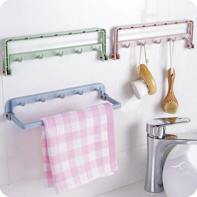 Creative Door Towel Rack Multi Functional Folding Cabinet Hanger Kitchen Hook
