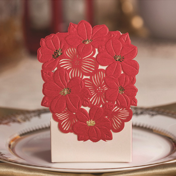 100pcs red vintage floral theme wedding gift and favor box laser cut wedding favor boxes wedding