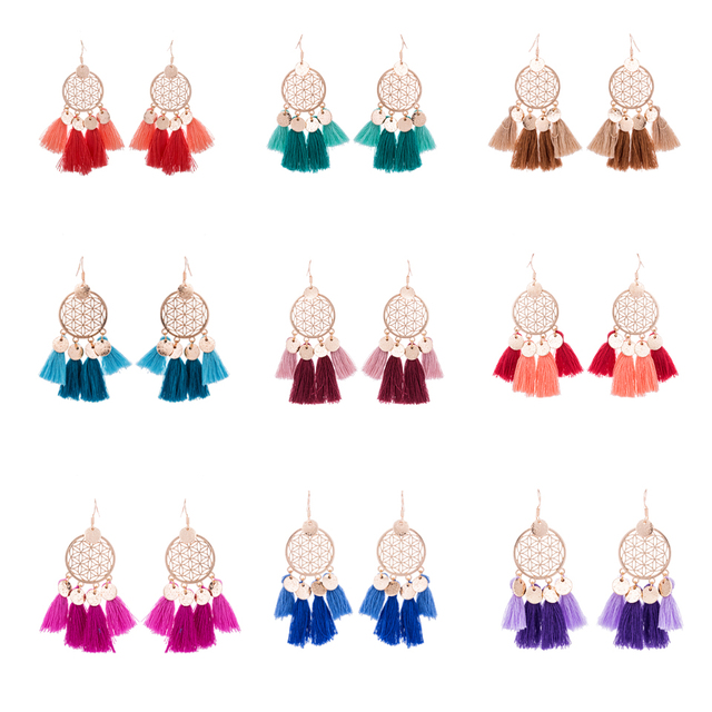 Bohemian Dreamcatcher Tassel Drop Earrings 4