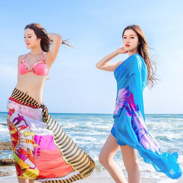 nuevo estilo 84aaf d260f € 152.08 5% de DESCUENTO|Gasa de las mujeres sarong pareo bikini cover up  Beach dress bañadores Falda cruzada, 60 unids en Las mujeres bufandas de ...