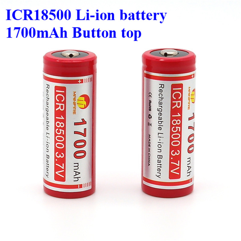<font><b>18500</b></font> 1700mah <font><b>li</b></font> <font><b>ion</b></font> <font><b>battery</b></font> high quality <font><b>3.7v</b></font> <font><b>18500</b></font> rechargeable <font><b>battery</b></font> with button top Lithium <font><b>battery</b></font> manufacturer (1pc) image