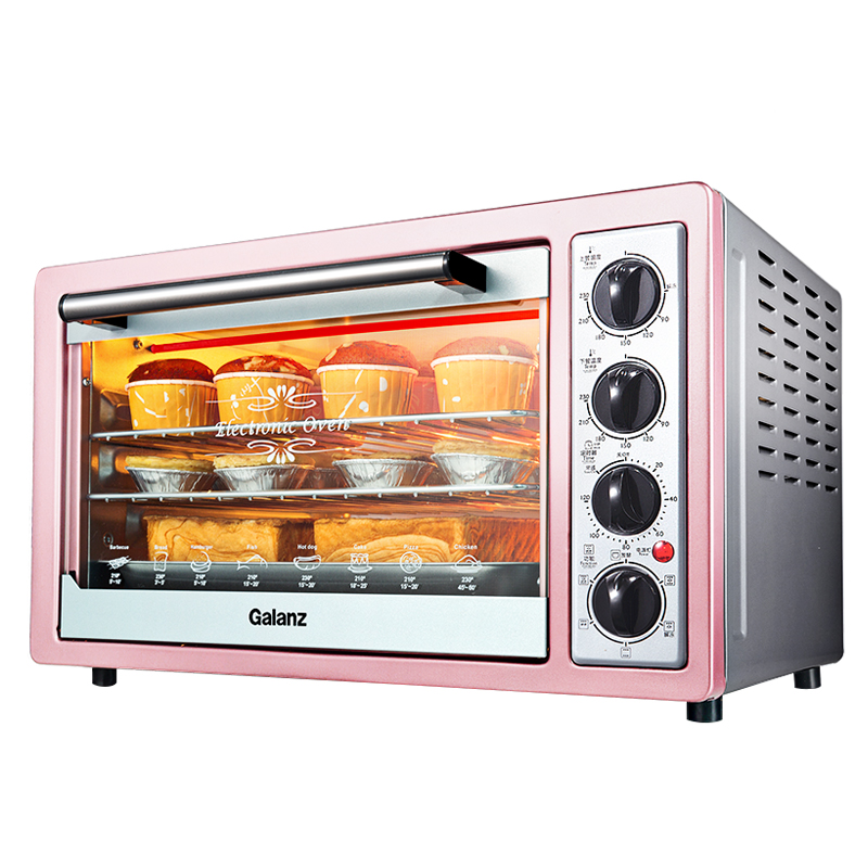 Electric Small Oven for Home Baking Multi-function Independent Temperature Control 30L 360 Degree Roasted Freestanding Barbecue