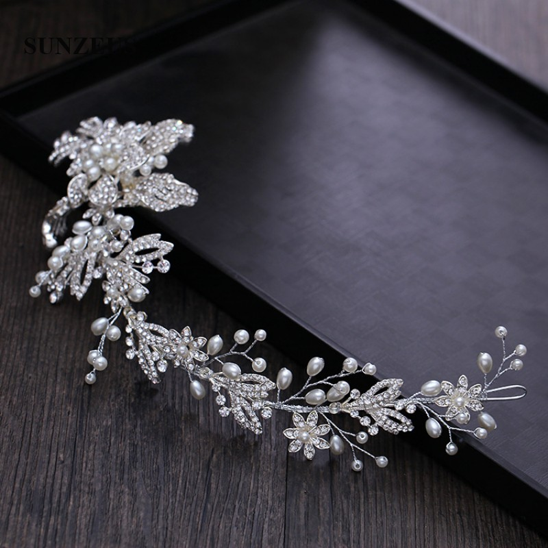 Pearls Beaded Elegant Bridal Headband Flowers Bride Wedding Hair Accessories Women's Formal Evening Party Hair Decoration SHA14