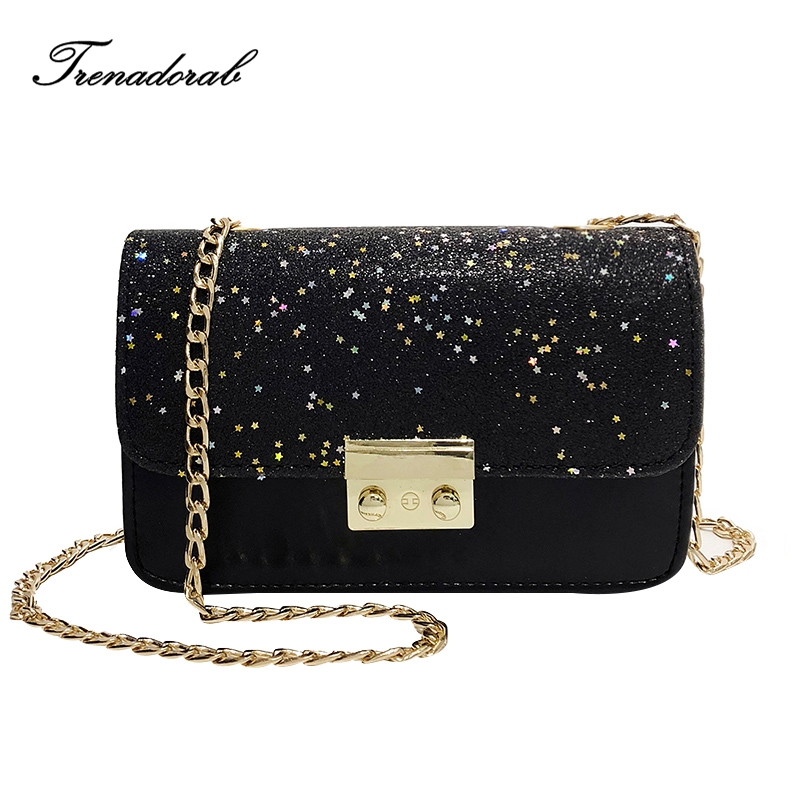 Summer Brand Sequins Bag Women Leather Handbags Chain Small Women Messenger Bags Flap Women Shoulder Bag Party Lock Purse Clutch women shoulder bags leather handbags shell crossbody bag brand design small single messenger bolsa tote sweet fashion style