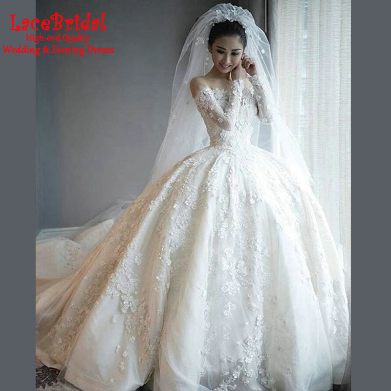 Buy luxury dubai ball gown o neck floral for Long sleeve beaded wedding dress