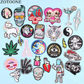 ZOTOONE UFO Space Skull Tiger Patch Iron on Sew On Applique Badge Motorcycle Cheap Biker Embroidered Patches For Clothes Sticker