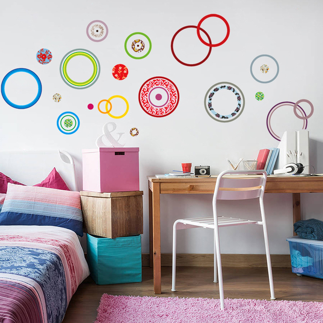 2 Colors Colorful Abstract European Flower Circle Wall Decal Decorative  Adesivo De Parede Pvc Wall Sticker