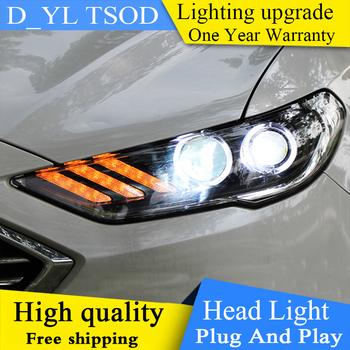 Car Styling For Ford Mondeo Fusion 2017 Headlights Mondeo LED Headlight DRL Hid Bi Xenon Beam Lens Flash Straight Yellow Turning